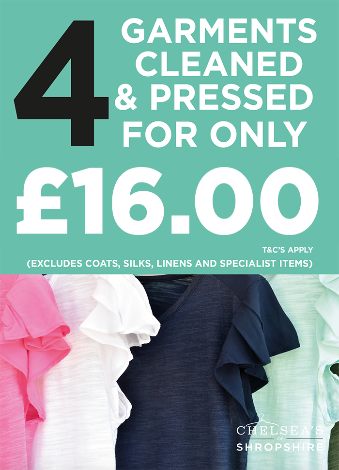Dry Cleaning Offers – Chelsea\'s of Shropshire | TWO HOUR DRY-CLEANING